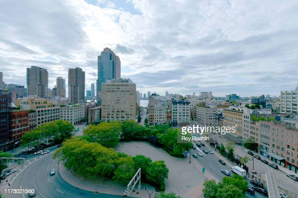 View of the skyline from the NYFW Roof Lounge during New York Fashion Week: The Shows at Spring Studios on September 07, 2019 in New York City.