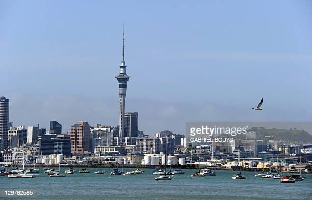View of the skyline in Auckland during the 2011 Rugby World Cup on October 21 2011 AFP PHOTO / GABRIEL BOUYS