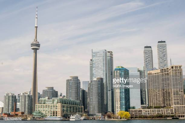 View of the Skyline in downtown Toronto from Ward Island.