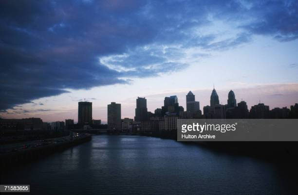 A view of the skyline of Philadelphia PA from the south west USA circa 1985
