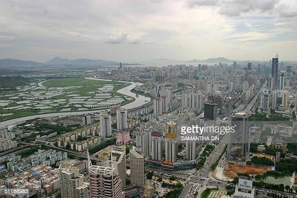 View of the skyline of Shenzhen city, 18 August 2004. Shenzhen was designated one of five special economic zones in 1980 when Deng Xiaoping decided...