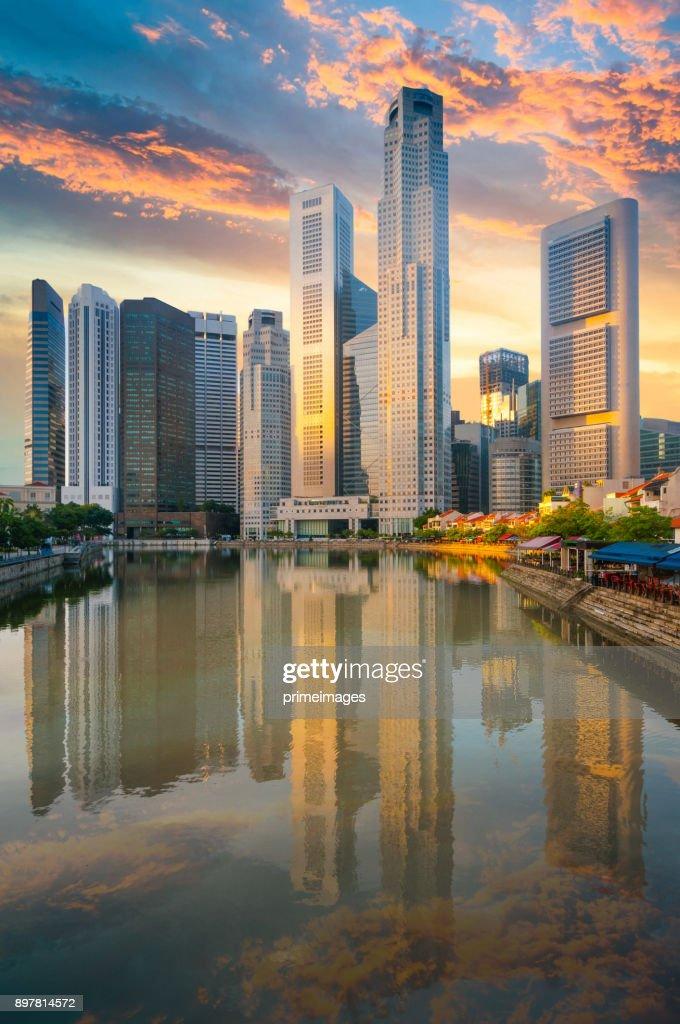 View of The skyline of Singapore downtown CBD : Stock Photo