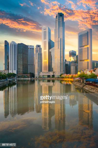 view of the skyline of singapore downtown cbd - singapore stock photos and pictures