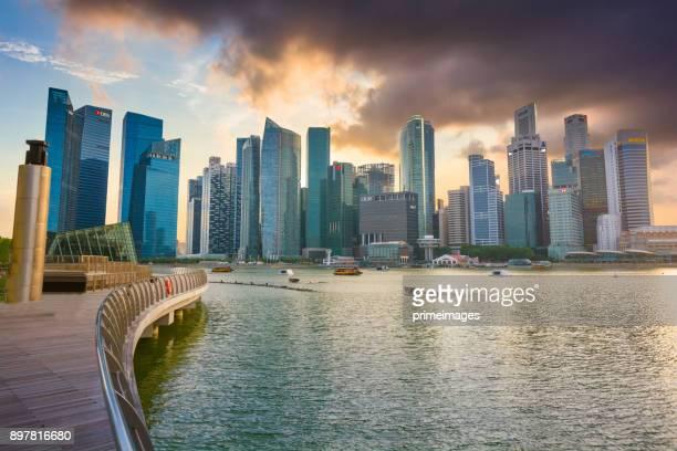 View of The skyline of Singapore downtown CBD