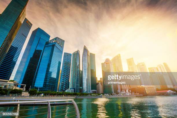 View of The skyline of Singapore downtown CBD