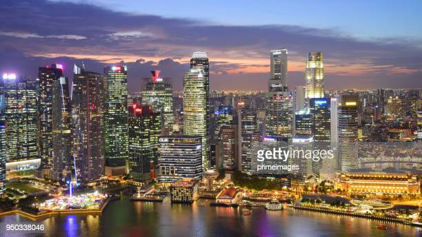 view of the skyline of singapore downtown cbd - hd format stock pictures, royalty-free photos & images