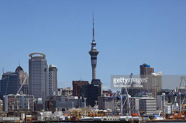 A view of the skyline of the City of Auckland showing the wharf area and Auckland Harbour with Sky Tower in the distance Auckland North Island New...