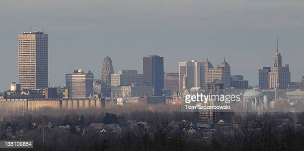 View of the skyline of the city of Buffalo from the top deck at Ralph Wilson Stadium during the Tennessee Titans NFL game against the Buffalo Bills...