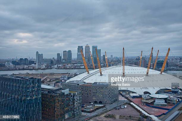 A view of the skyscrapers in Canary Wharf East London and the O2 Arena