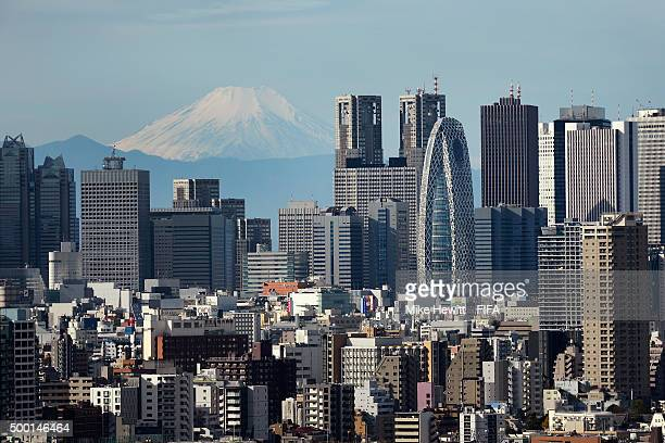 A view of the skyscrapers of Shinjuku with Mount Fuji in the background FIFA Club World Cup on December 6 2015 in Tokyo Japan