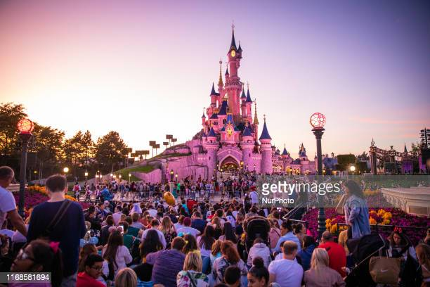 A view of the Sleeping Beauty Castle during the sunset at Disneyland Paris in Paris France on September 14 2019 Disneyland Paris is one of Europe's...