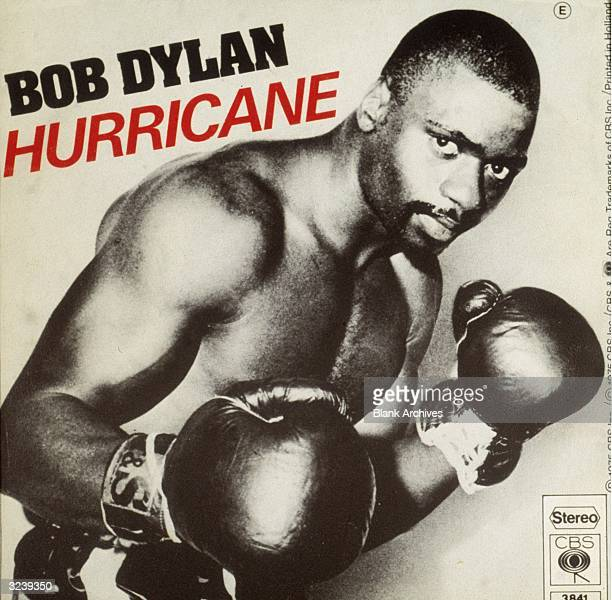 A view of the sleeve cover photograph of rock singer and songwriter Bob Dylan's 45 RPM single 'Hurricane' showing boxer Rubin 'Hurricane' Carter in a...