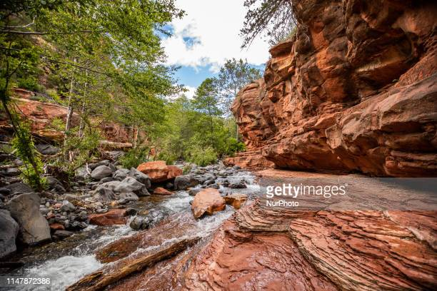 A view of the Slide Rock State Park located in Oak Creek Canyon 7 miles north of Sedona Arizona United States It takes its name from a natural water...