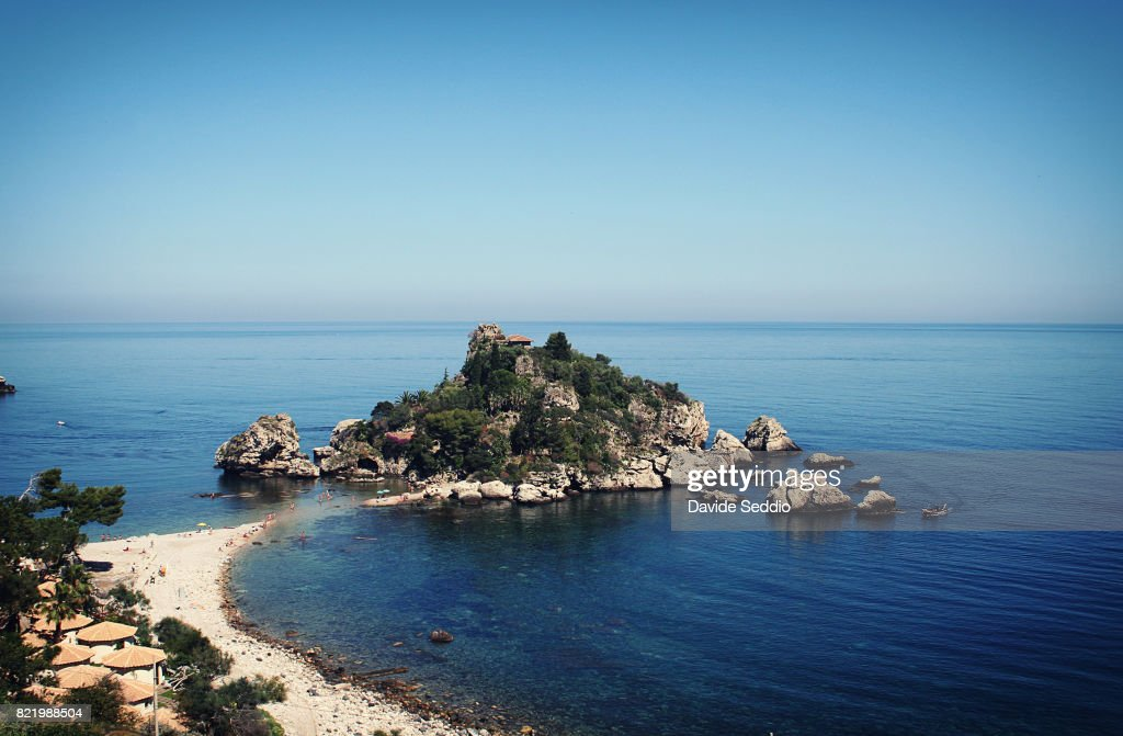 View of the small island 'Isola Bella' in Sicily : Stock Photo