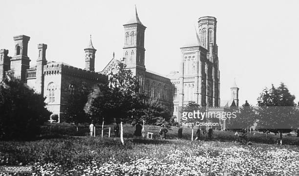 View of the Smithsonian Institution building in a field of daisies in Washington DC, circa 1860s.