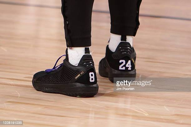 A view of the sneakers of Damian Lillard of the Portland Trail Blazers against the Los Angeles Lakers for Game four of the first round of the 2020...
