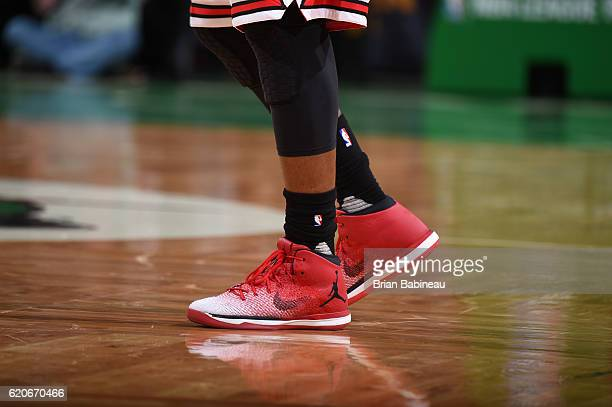 A view of the sneakers of Jimmy Butler of the Chicago Bulls against the Boston Celtics on November 2 2016 at the TD Garden in Boston Massachusetts...
