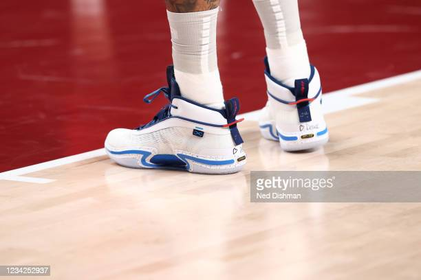 View of the sneakers worn by Jayson Tatum of the USA Men's National Team against Iran during the 2020 Tokyo Olympics on July 28, 2021 at the Saitama...