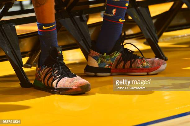 A view of the sneakers worn by Kevin Durant of the Golden State Warriors during practice and media availability as part of the 2018 NBA Finals on MAY...