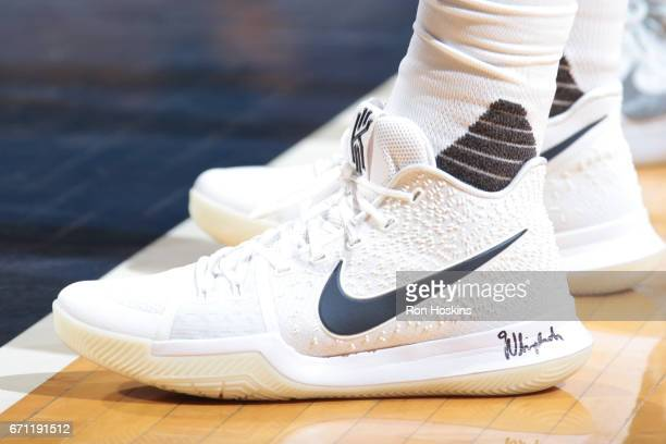 A view of the sneakers worn by Kyrie Irving of the Cleveland Cavaliers against the Indiana Pacers during Game Three of the Eastern Conference...