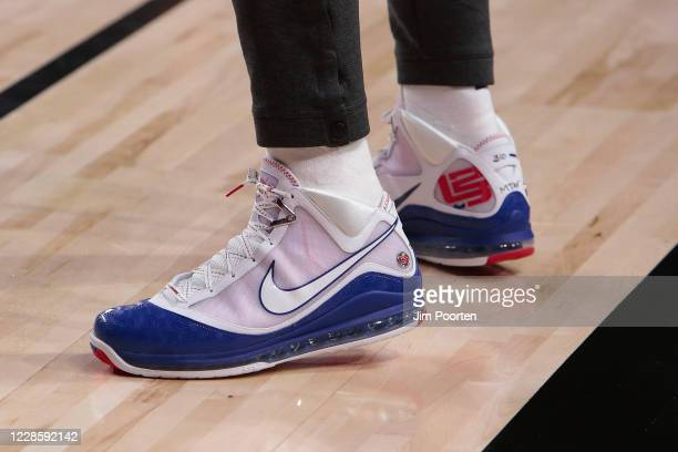 A view of the sneakers worn by LeBron James of the Los Angeles Lakers during the game against the Denver Nuggets in Game one of the Western...
