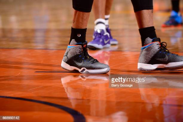 A view of the sneakers worn by Russell Westbrook of the Oklahoma City Thunder against the Phoenix Suns on April 7 2017 at Talking Stick Resort Arena...