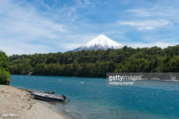 View of the snow and glacier of Osorno volcano which is a stratovolcano in southern Chile in Vicente Perez Rosales National Park near Puerto Varas...