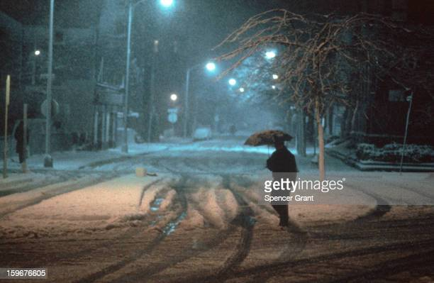 View of the snow and sleet in 19771978 blizzard Cambridge Massachusetts 1978