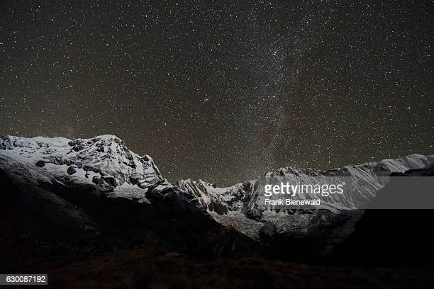 View of the snow covered Annapurna 1 North Face and the Annapurna South summit at night with stars and Milky Way.