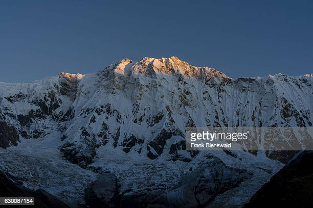 View of the snow covered Annapurna 1 North Face at sunrise