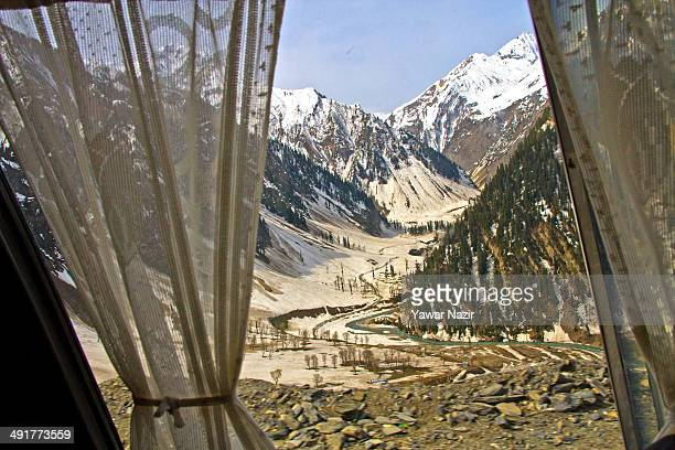 A view of the snowcleared SrinagarLeh highway on May 17 2014 in Zojila 108 km east of Srinagar the summer capital of Indian administered Kashmir...
