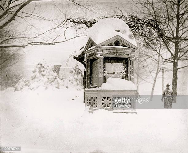 View of the snowcovered Department of Agriculture kiosk during the socalled Knickerbocker Storm a blizzard that dropped 28 inches of snow on...