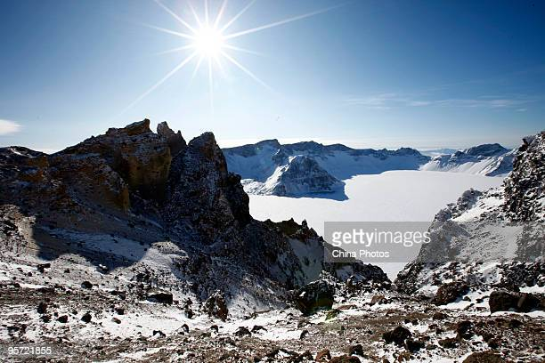 A view of the snowcovered Tianchi or Heaven Lake is seen at the Changbai Mountains on January 11 2010 in Antu County of Yanbian Korean Autonomous...