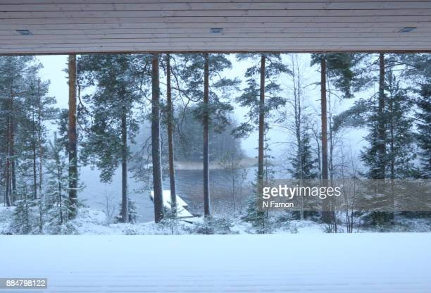View of the snowy lake from the sauna, Finland