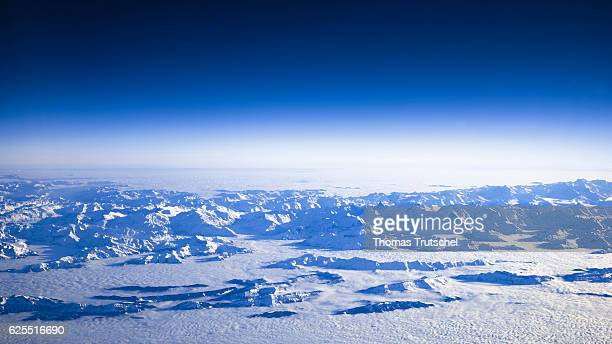 View of the snowy peaks of the Swiss Alps on November 14 2016 in Lausanne Switzerland