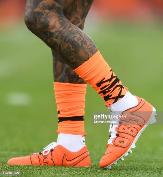 A view of the socks and cleats of wide receiver Odell Beckham Jr #13 of the Cleveland Browns during a mandatory mini camp practice on June 4 2019 at...