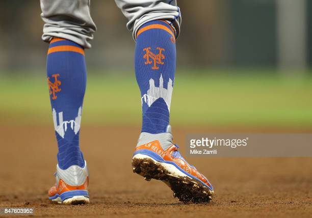 A view of the socks worn by Shortstop Jose Reyes of the New York Mets on the field in the sixth inning during the game against the Atlanta Braves at...