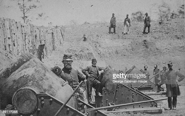 View of the soldiers manning the Union battery No 4 near Yorktown mounting 10 13inch Mortars each weighing 20000 pounds Virginia ca 1862