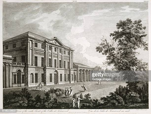 View of the South Front of the Villa at Kenwood' late 18th or early 19th century Engraving of Kenwood House Hampstead London the villa of the Earl of...