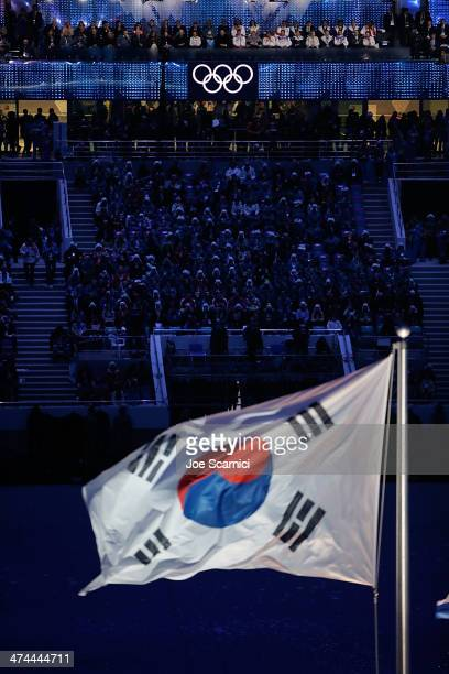 A view of the South Korean Flag as part of the 2014 Sochi Winter Olympics Closing Ceremony at Fisht Olympic Stadium on February 23 2014 in Sochi...