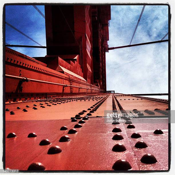 A view of the south tower of the Golden Gate Bridge on May 2 2012 in San Francisco California The Golden Gate Bridge Highway and Transportation...