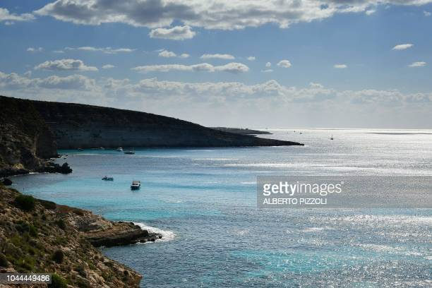 A view of the southern coast of the Italian island of Lampedusa on September 27 2018 Five years after the worst shipwreck of its history the Italian...