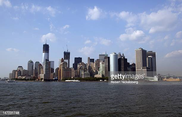 A view of the southern tip of New York City's financial district June 20 2012 from the Staten Island Ferry in New York City The new World Trade Tower...