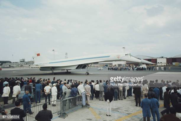 View of the Soviet built prototype supersonic transport aircraft Tupolev Tu144 nicknamed Concordski surrounded by spectators and guests at the Paris...