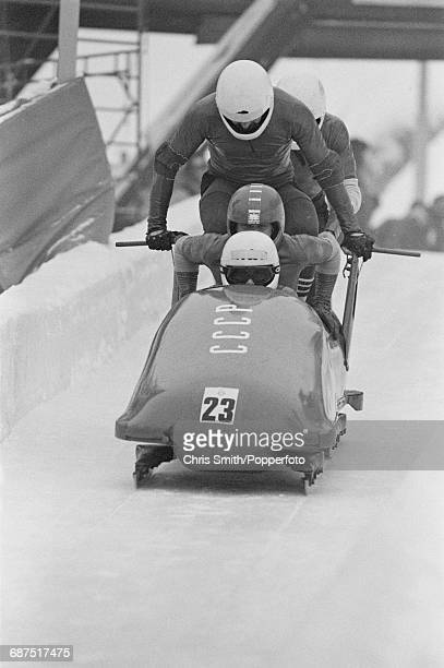 View of the Soviet Union 2 fourman bobsleigh team of Zintis Ekmanis Janis Skrastins Rihards Kotans and Vladimar Aleksandrov in action at the start of...