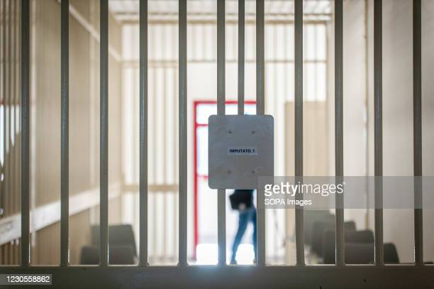 View of the space for accused persons in the bunker room. Italian Minister of Justice Alfonso Bonafede and anti-mafia prosecutor Nicola Gratteri,...