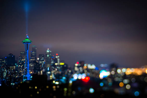 View of the Space Needle and Downtown Seattle Skylight at Night