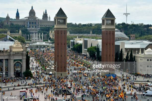 A view of the Spain Square in Barcelona during the demonstration in favor of the unity of Spain Some 2000 people according to the Local Police...