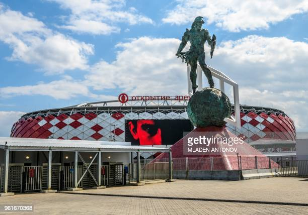 A view of the Spartak Stadium in Moscow on May 23 2018 The 45000seater stadium will host four group matches and a round of 16 game of the 2018 FIFA...
