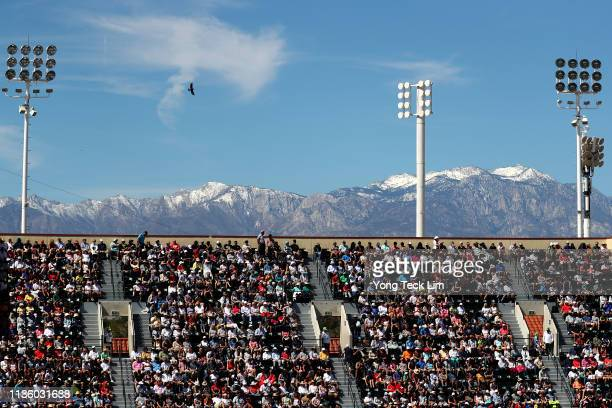 A view of the spectator stands at Stadium 1 during the men's singles quarterfinal match Roger Federer of Switzerland and Hubert Hurkacz of Poland on...